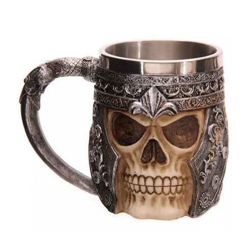 1pcs Cool Striking Skull Warrior Tankard Viking Skull Head Beer Coffee Water Mug Gothic Helmet Drinkware