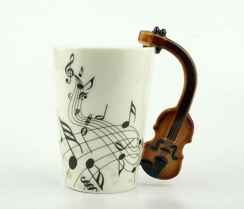 Creative Music Violin Style Guitar Ceramic Mug Coffee Tea Milk Stave Cups With Handle Coffee Mug