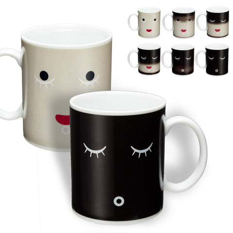 Magic Color Change Morning Mug Coffee Tea Ceramic Mug Black Colour Smile Face Black White