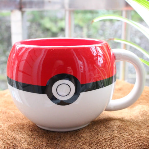 Cute Poke Ball Figural Ceramic Mug Pokemon Handgrip Cartoon Funny Mugs