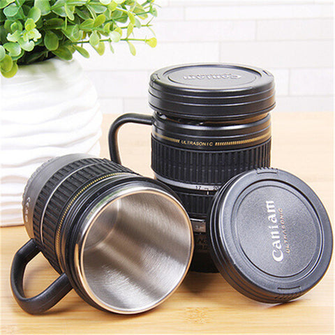 220ML Camera Shaped Stainless Steel Lens Mug With Handle Caniam Logo Coffee Mug