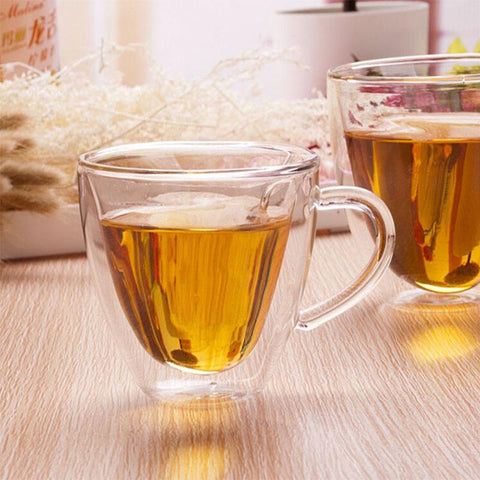 180ml Heart Double Wall Clear Transparent Glass Tea Mug Coffee Mug