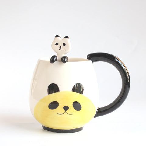 Hand-Painted Coffee Cup, Cartoon Lovely Chinese Panda/Frog/Cat/Pig Ceramic Mugs