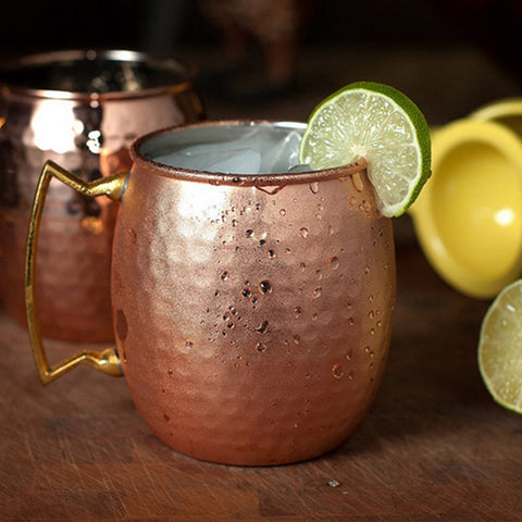 Stainless Steel Copper Plating Hammered Drum Style Moscow Mule Beverage Mug With Handle