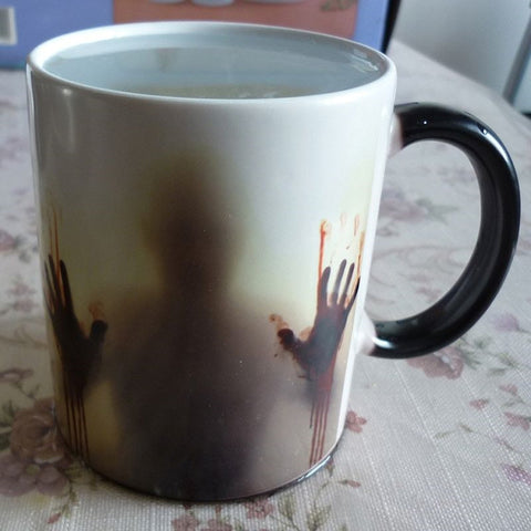 Newest Design Zombie Magic Cup Color Heat Changing Mug Coffee Tea Cup Printing With Walking Dead Bloody hands and Head picture