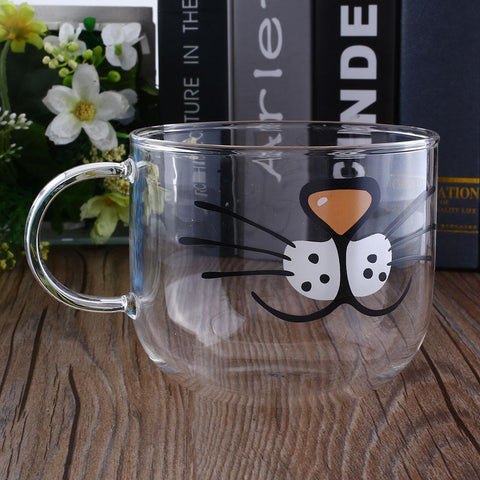 Lovely Cat Borosilicate Glass Coffee Cup Home Transparent Clear Water Mug 550ML Milk Mugs