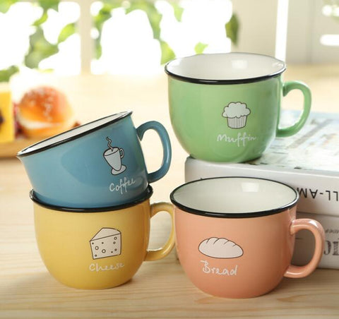 Creative Candy Color Ceramic Mug Coffee Milk Breakfast Cup Cute Porcelain Tea Mugs 250ml