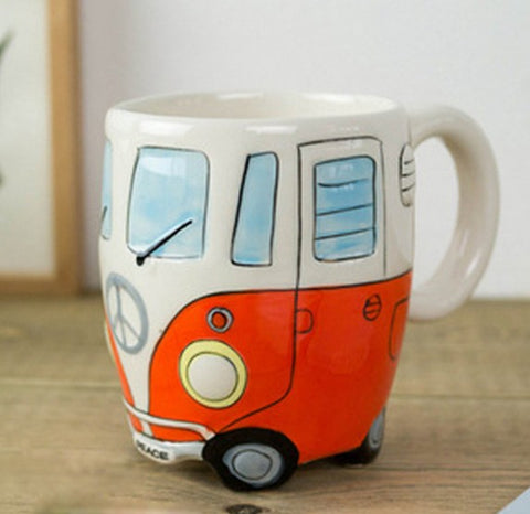 Cartoon Double Decker Bus Mugs Hand Painting Retro Ceramic Cup Coffee Milk Tea Mug Drinkware