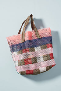 Mesh Hand Bag - Small - Pink Grid
