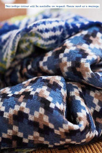 Artisanal Printed Wool Scarf - Forest
