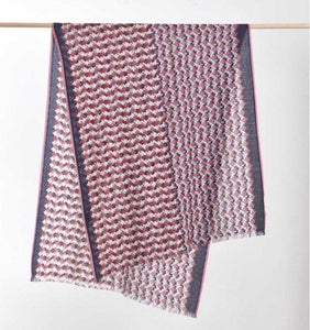 Artisanal Printed Wool Scarf - Grape