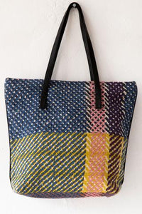 Small Checkered Tote Bag - Heather