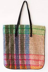 Large Checkered Tote Bag - River