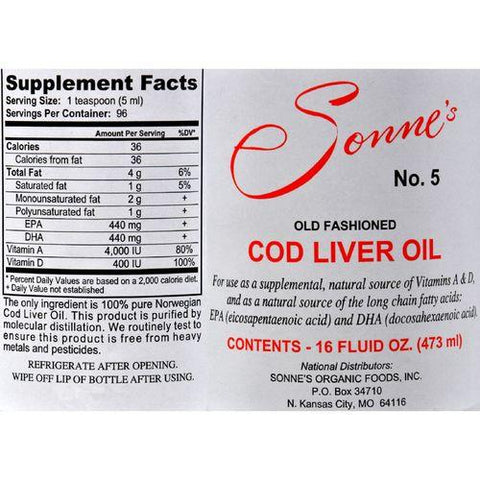 Sonne's Old Fashioned Cod Liver Oil No 5 - 16 fl oz