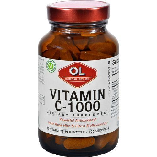 Olympian Labs Vitamin C - 1000 mg - Plus Rose Hips and Citrus Bioflavanoids - 100 Tablets
