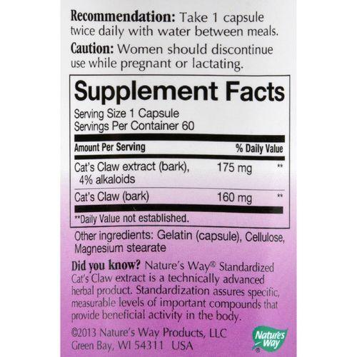 Nature's Way Cats Claw Standardized - 60 Capsules