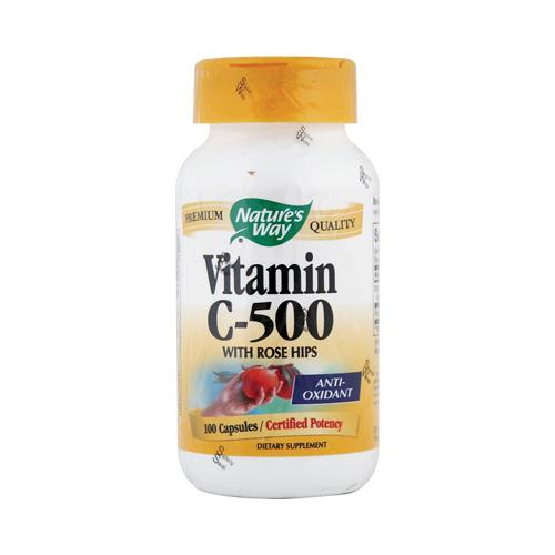 Nature's Way Vitamin C-500 With Rose Hips 500 mg (100 Capsules)