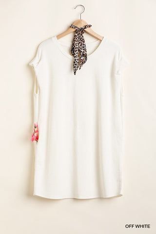 Off White Short Sleeve Pocket Dress