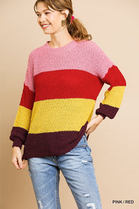 Color Blocked Knit Sweater