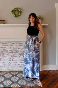 Tie Dye Sash Maxi Dress