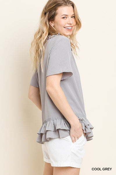 Cool Gray Front Keyhole Top