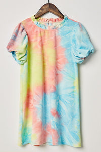 Kid Tie Dye Puff Sleeve Dress