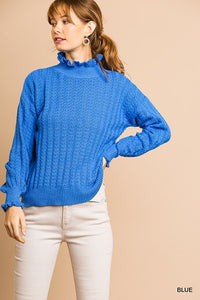 High Ruffle Neck Blue Sweater