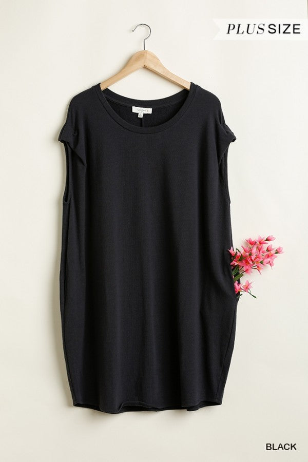 Black Short Sleeve Pocket Dress
