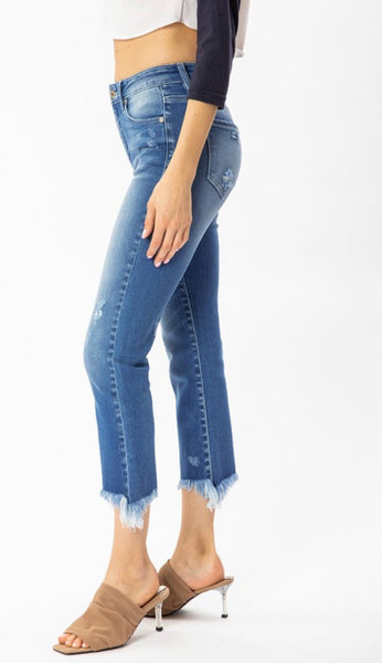 Kan Can Mid Rise Raw Hem Jeans