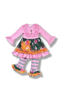 Kid Pink Flower Ruffle Dress Set