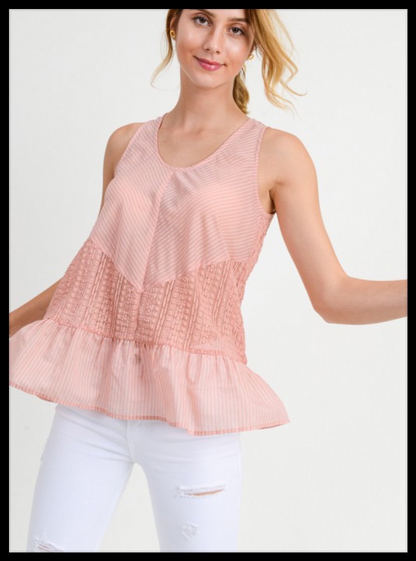 Blush Lace Mixed Top
