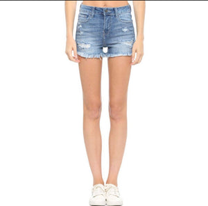 Cello High Rise Destroy Fray Hem Shorts