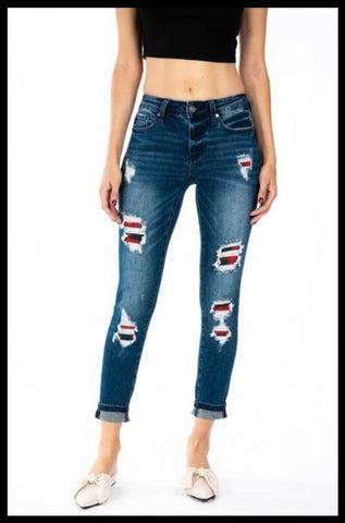 Kan Can Distressed Plaid Patch Skinny Jean