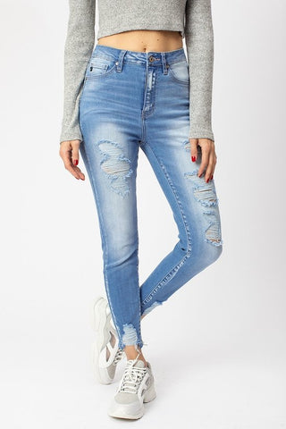 Kan Can High Rise Light Stone Wash Jean