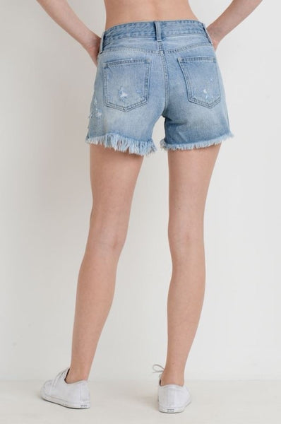 Destroyed Shorts with Side Seam Slit