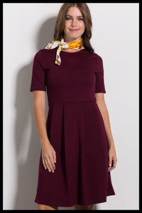 Short 1/2 Sleeve Fit and Flare Dress (More Colors Available)