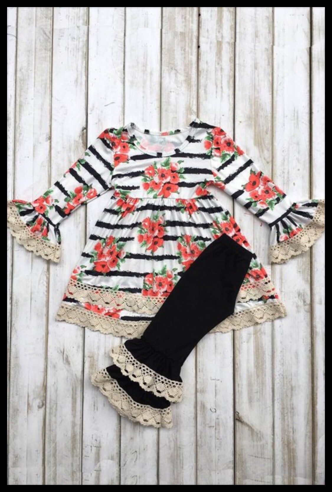 Kid Floral and Lace Dress with Pants