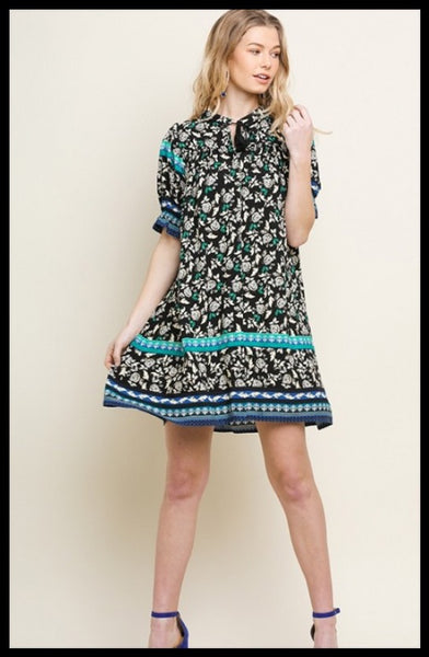 Black And Teal Floral Dress