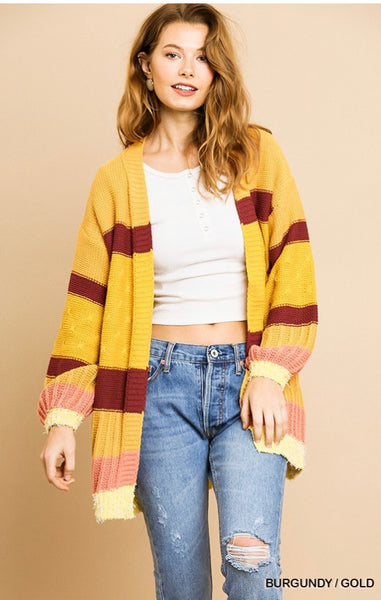 Multicolor Mixed Fabric Cardigan (More Colors)