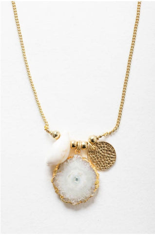 Crystal Shell Pendant Chain Necklace
