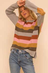 Multi Color Stripe Sweater with Elbow Patch