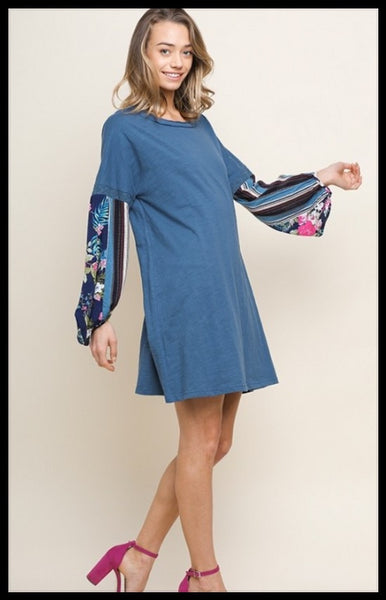 Blue Tee Dress with Floral Puff Sleeves