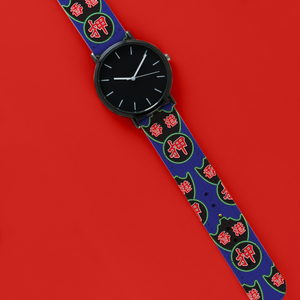 A 40mm unisex stainless steel quartz powered watch with a Neon Pawn Shops Sign pattern printed on the strap