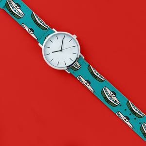 A 40mm unisex stainless steel quartz powered watch with a Star Ferry pattern printed on the strap