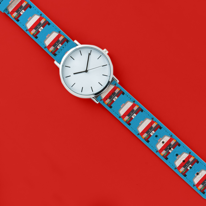 A 40mm unisex stainless steel quartz powered watch with a Red Taxis pattern printed on the strap