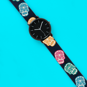 A Unisex Wristwatch with a Dead Cool Calvera or Mexican Sugar Skull Print