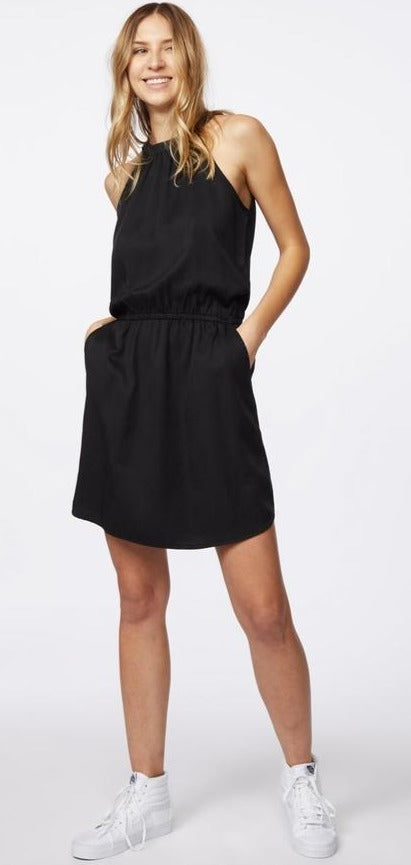 Tencel Lyocell Dress - Casual Black Sustainable Dress on Model