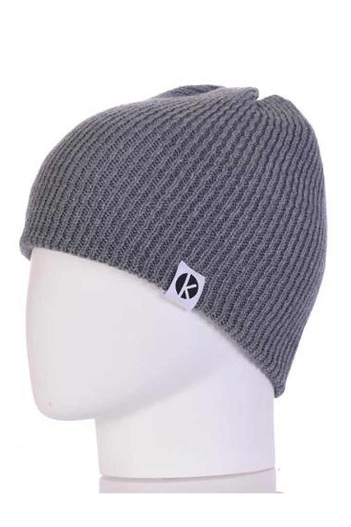 K-nit - Bowen Merino Wool Beanie - Grey Wool Hats