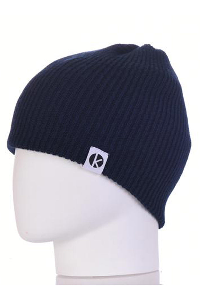 K-nit - Bowen Merino Wool Beanie - Navy Blue Wool Hats