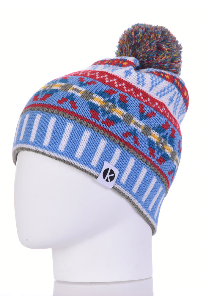 K-nit - Cormack 'Burster' Merino Wool Bobble Hat (Blue)